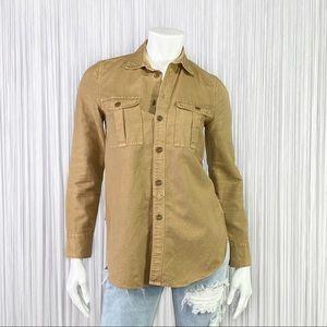 J.CREW Military Tunic In Honey Brown Fatigue XXS